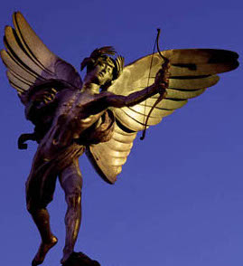 Eros'                         <Statue in Piccadilly Circus - the least cool                         place to hang out in London